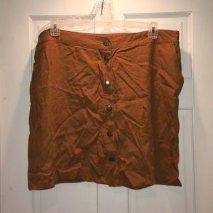 Plus-size button up mini skirt